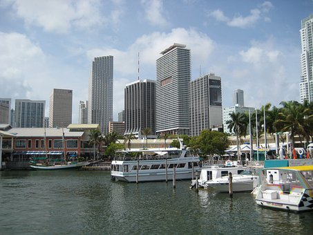 Usa, Miami, Skyline, Port, Sea, Holiday, Outlook