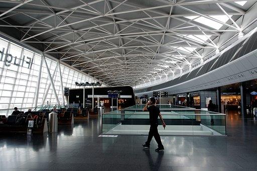 Airport, Zurich, Abflighalle, Waiting Area, Phone, Man