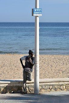 Phone, Wifi, Beach, Sea, Sand, Mediterranean
