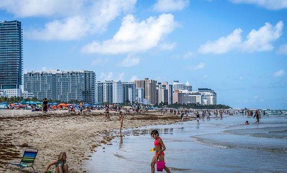 South Beach, Miami, Florida, Ocean, Water, Sky