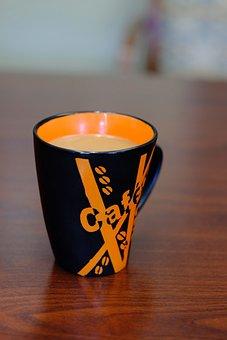 Coffee, Mug, Cup, Desk, Orange, Black, Brown