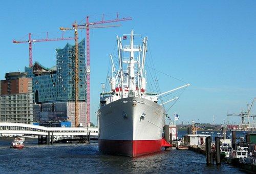 Hamburg, Port, Ship, Port City, New Building, Building