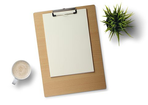 Desk, White Background, Plant, Coffee, Note Pad