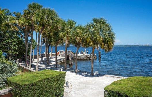 Vizcaya, Miami, Florida, Dock, Ocean, Historic