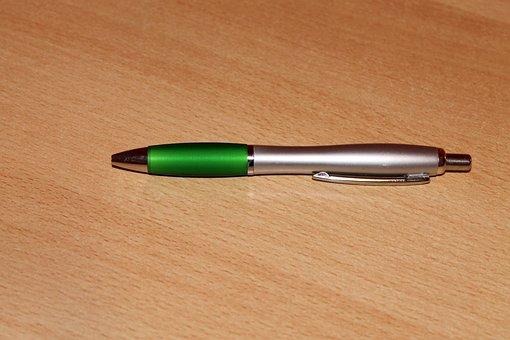 Pen, Green, Silver, Writing Tool