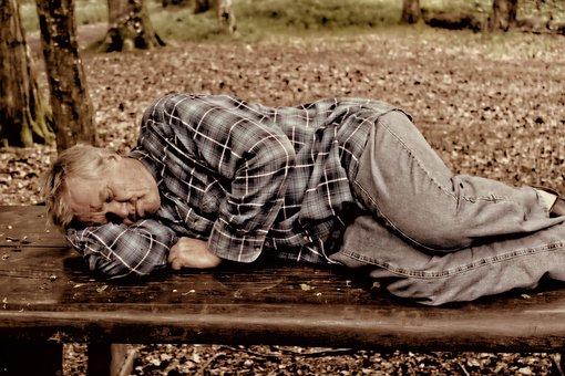 Man, Person, Sleep, Park Bench, Homeless, Penner