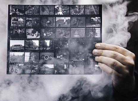 Photographs, Smoke, Hand, Light, Contact Sheet