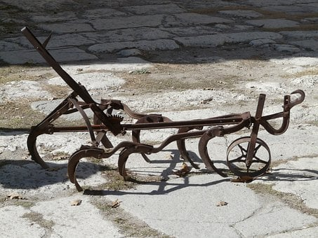 Plough, Old, Retired, Rusted, Agricultural Machine