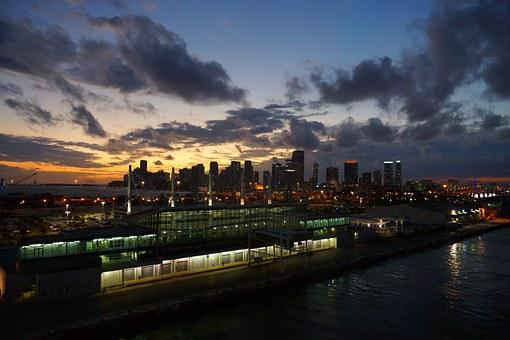 Miami, Usa, Florida, Skyline, Port, Twilight