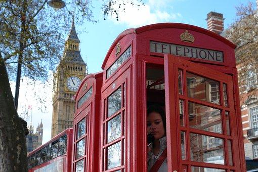 Phone Box, Phoning, Red, London, British, Famous