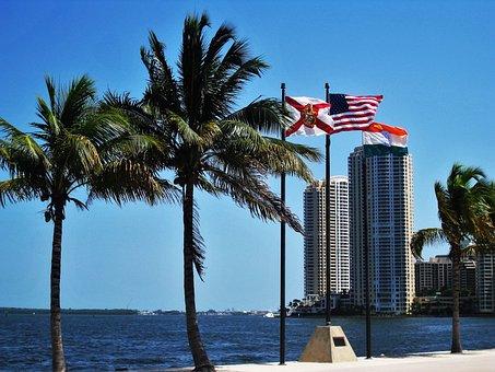 Miami, Florida, Flags, Usa, Architecture, Sky