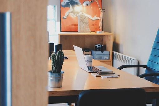 Study, Workroom, Office, Glimpse, Through, Door, Open