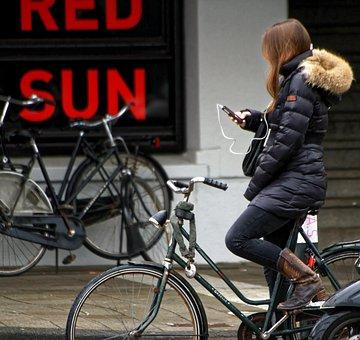 Girl, Bike, Bicycle, Iphone, Music, Earphones, Texting
