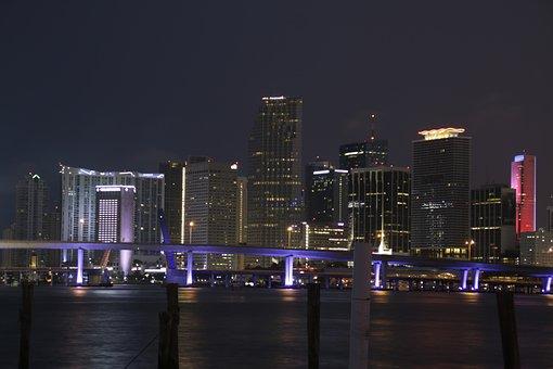 Miami, Night, City, Florida, Skyline, Usa, Cityscape