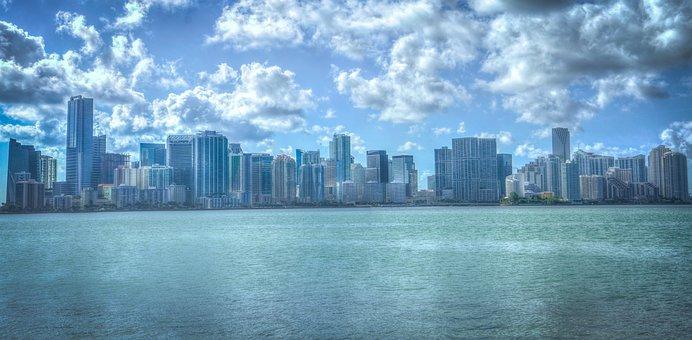Miami, Florida, Cityscape, Water, Architecture
