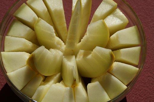 Melon, Cantaloupe, Sliced, Yellow, Eat, Fruit, Dessert
