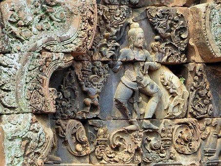 Cambodia, Angkor, Bantaey Srei, Temple, Sculpture