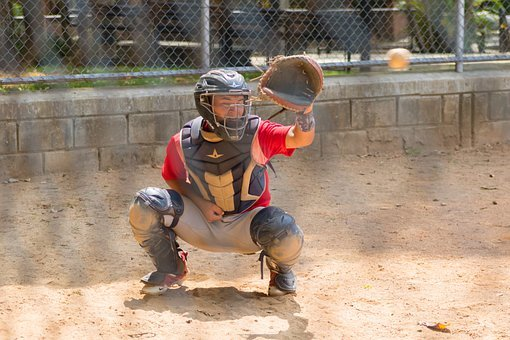 Baseball, Player, Catcher, Game, Ball, Helmet, Uniform