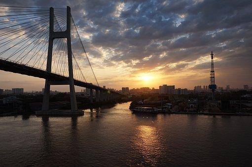 Vietnam, Asia, Big City, City, Bridge, Mekong River