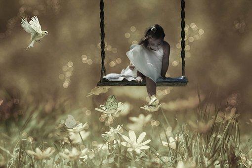 Fantasy, Girl, Rock, Meadow, Butterflies, Bird