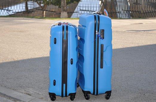 Luggage, Blue, Travel, Suitcase, Visa, Holiday