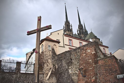 Cross, Cathedral, City, Brno Czech Republic, Cloudy