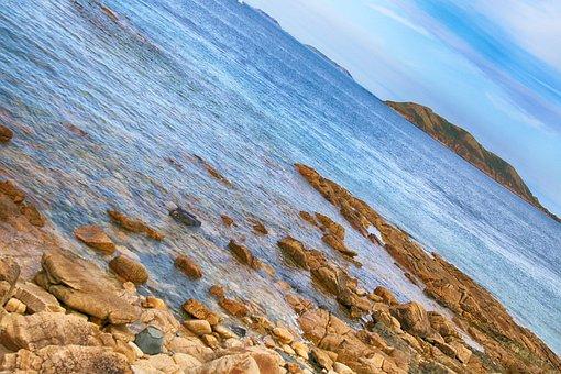 Landscape, Sea, Rocks, Brittany, Sides, France, Blue