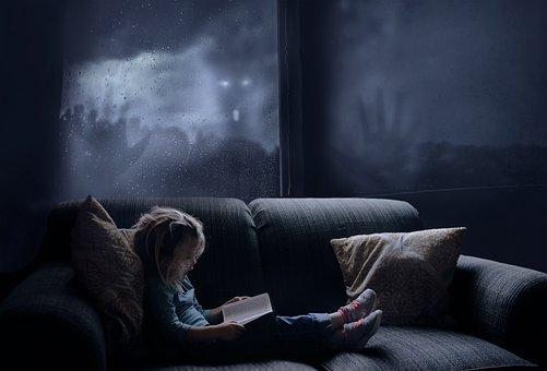 Girl, Terror, Book, Night, Mysterious