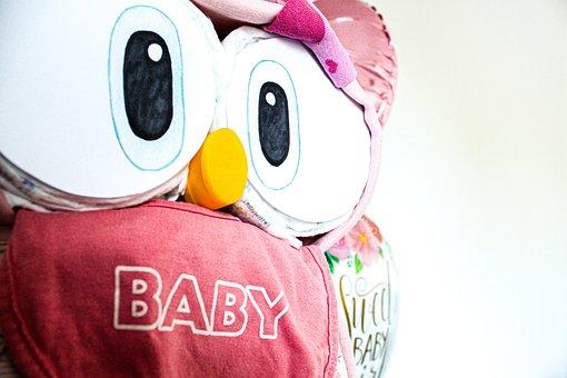 Owl, Diaper Cake, Diaper, Baby Party, Pampas, Girl