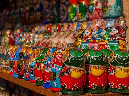 Matreshka, Russian, Doll, Nesting, Row, Color, Play