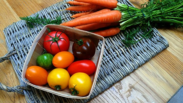 Vegetables, Carrots, Tomatoes, Yellow, Red, Orange