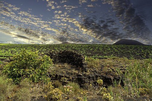 Lanzarote, Clouds, Sky, Volcano, Vineyards