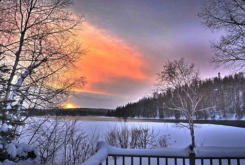 Landscape, Nature, Winter, Snow, Trees, Sky, Sunset