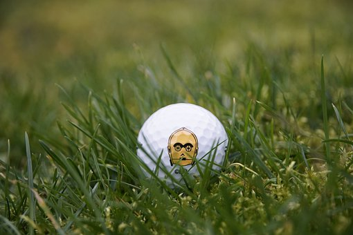 Golf, Rough, Grass, Ball, Star Wars, C-3po, Green Stars