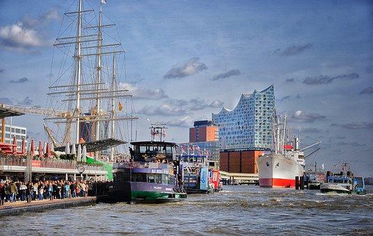 Hamburg, Port, Northern Germany, Ships, Shipping, Water