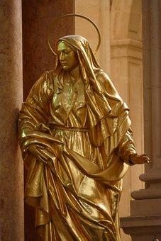 Statue, Image, Sculpture, Art, Woman, Holy, Gold, Gilt