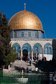 Jerusalem, Church Hill, Rock-mosque, Dome, Gold, Arch