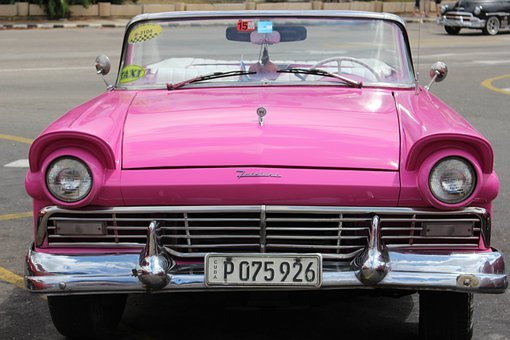 Car, Pink, Cadillac, Cuba, Vintage, Auto, Vehicle, Road