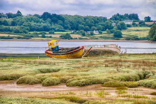 Boat, Wreck, Brittany, Landscape, Carcass, Failed