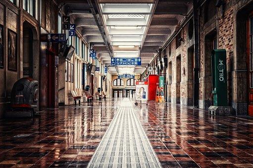 Railway Station, Gang, Passage, Architecture, Light