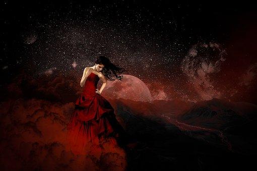 Girl, Cosmos, Moon, Gothic, Gloomy, Fantasy, Universe