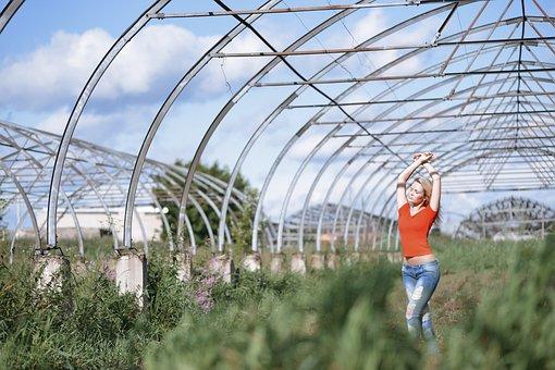 Girl Posing, Strange Place, Arc, Greenhouses