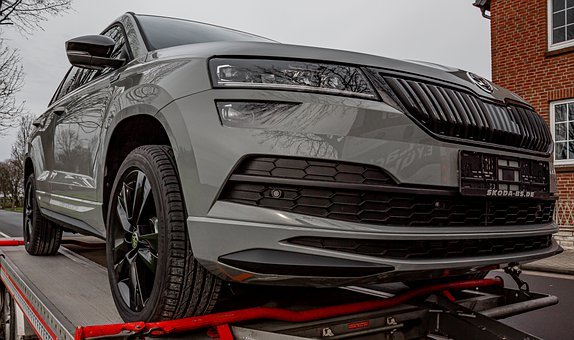 Skoda, Karoq, Auto, Suv, Grey, Car, Car Trailer, Wheels