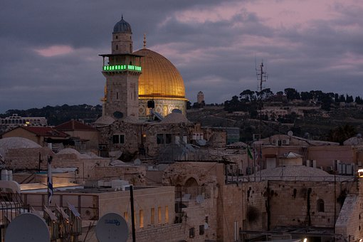 Jerusalem, Church Hill, In The Evening, Minaret, Mosque