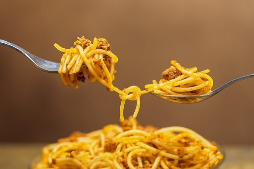 Noodles, Spaghetti, Pasta, Knotted, Connected, Meat