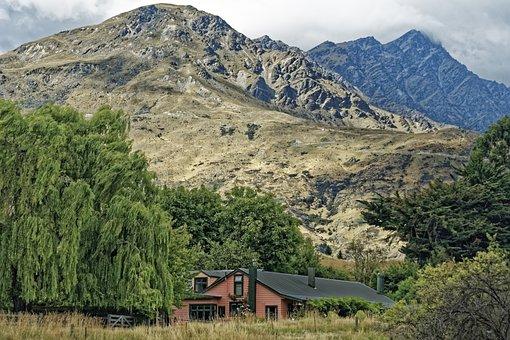 New Zealand, Farm House, House, Building, Mountains