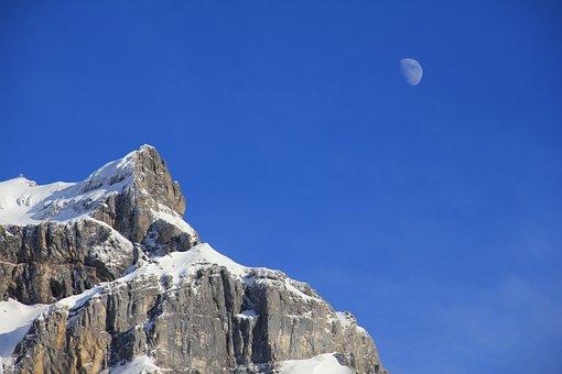 Rock, Mountain, Snow, Moon, Sky