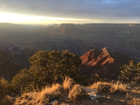 Grand Canyon, Sunset, Sky, Clouds, Mountains, Cavern