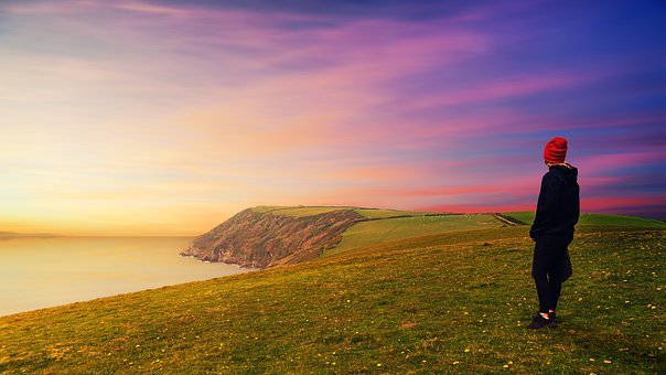 Cornwall, Sunset, Girl, Sea, Coast, Meadow, Sheep