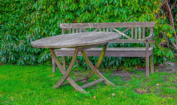 Garden, Table, Bank, Bench, Old, Weathered, Wood, Rest